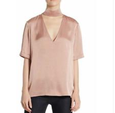 Theory Slit Collar V-Neck Shirt, Satin Pink, Women's Small