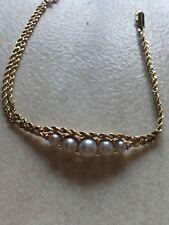 Bracelet Gourmette Or 18 Carats Perles De Culture Diamants