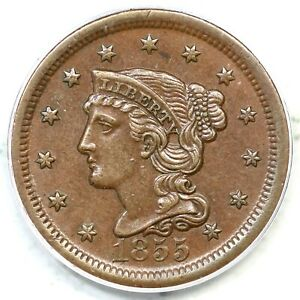1855 N-4 PCGS AU 55 Upright 55 Braided Hair Large Cent Coin 1c