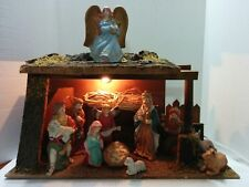 Large Traditional Lighted Holiday Christmas Nativity Scene Set of 11 Figures