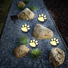 Set of 4 LED Solar Pet Paws Animal Prints Outdoor Lamp Lantern Path Landscape UK