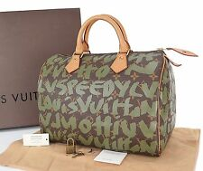 Authentic LOUIS VUITTON Graffiti Speedy 30 Monogram Boston Hand Bag Purse #25567