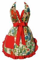 Hemet Clothing Red Ruffle Frida Kitchen Cooking Apron Art Deco Custom Made