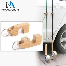 Fishing Rod Holder & Stand Natural Bamboo Magnetic Base 2Pcs/lot