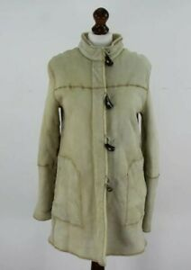 BURBERRY Beige Sheepskin Shearling Duffle & Zip Jacket size 44
