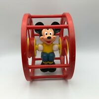 Vintage Walt Disney Productions Plastic Mickey Mouse Toy Rolling Wheel F4