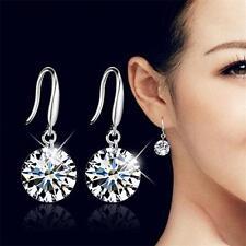 Women 925 Sterling Silver Crystal Rhinestone Drop Ear Stud Earrings Fashion New