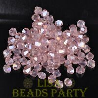 New 100pcs 4mm Bicone Faceted Crystal Glass Loose Spacer Beads Bulk Aqua Red AB