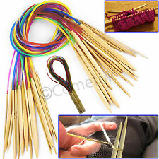 18 Set 80CM Smooth Carbonized Bamboo Circular Knitting Needles Pins 2.0mm-10mm