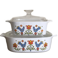 Set of 2 Corning Country Festival Blue Rooster Vintage 1 1/2 qt & 2 qt Bowls Lid