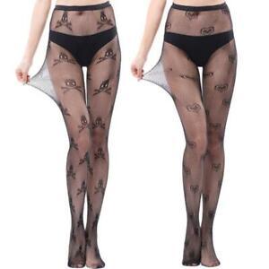 Women High Waist Mesh Pantyhose Skull Heart Print Sheer Fishnet Tights Stockings