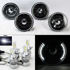 "FOUR 5.75"" 5 3/4 Round H4 Blk/Chm DRL Glass Headlights w/ 36W LED H4 Bulbs Plymo"