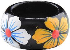 Tiki Retro FLOWER 50s Blüten Holzring - Weiß / Gelb
