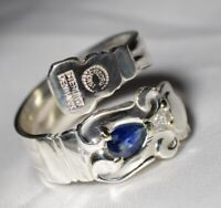 Georg Jensen BLUE SAPPHIRE & DIAMOND STERLING Spoon Ring Free Shipping