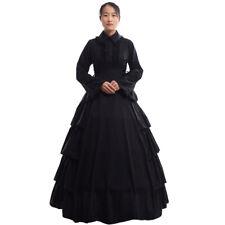 Vintage Victorian Black Ball Gown Gothic Flounces Reenactment Costume Dress