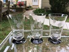 "Set 3 Elegant Depression Glass 5"" Weston Louis? Optic Panel Tumblers Bi Color"