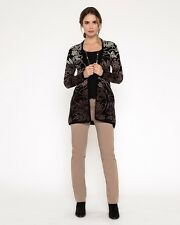 NEW East Wool Blend Brown Cream Black Long Cardigan Knitted Jacket Size UK 8-10