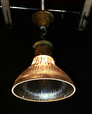 Rare 1930s Original English Holophane Prismatic ribbed glass pendant light shade