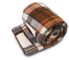 Merino Wool Blanket 200 x 240 cm Brown Check Bedding Sofa Woolmark