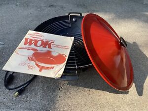 Vintage West Bend Electric Wok, 6-Quart Red, Made In USA with Cord & Box 79525