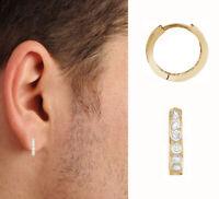 14K Yellow Gold Unisex Single CZ Huggie Hoop Earring 11mm Huggy (1/2 Pair)