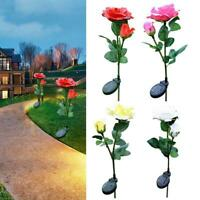 Outdoor Solar Powered Flower Lamp Stake Party LED Rose Light Yard Up Garden D2G6