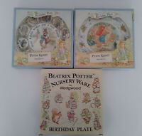 3 Wedgwood Peter Rabbit Birthday Plates & Boxes 1993 '94 & 1997 2 Christmas 2000