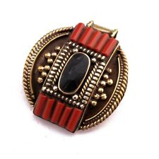 Coral Black Onyx Brass Pendant Tibetan Nepalese Handmade Tibet Nepal PD716
