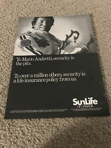 Vintage 1978 MARIO ANDRETTI SUNLIFE OF CANADA INSURANCE Poster Print Ad 1970s