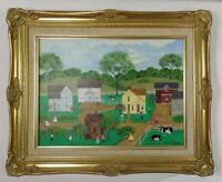 "Vintage Folk Art Deborah Mayo Naive Painting Wood Gilded Frame 21"" x 17"""