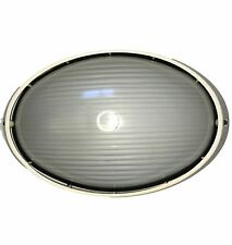 Large  LED compatible External Outdoor Oval Bunker Wall Light -IP54 Cream Alloy
