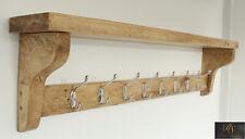 Coat Hat Rack & Shelf Solid Wood Medium Oak Handmade 8 Double Chrome Hooks 100cm
