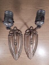 PAIR OF TRUE ART DECO METAL ELECTRIC SCONCE LIGHTS TO RESTORE