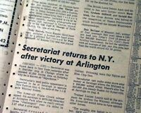 SECRETARIAT WINS Arlington Heights IL TRIPLE CROWN Horse Racing 1973 Newspaper