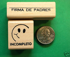 Teachers' Spanish Rubber Stamp Set of Two, wood mounted