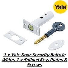 1 x YALE DOOR SECURITY BOLT, RACK BOLT WHITE FINISH WITH 1 x SPLINED KEY - NEW