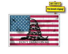 Molon Labe Gadsden Aged Usa American Flag Don't Tread on MeDecal Gn31 Made in Us