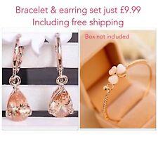 Gold Plated Bracelet/Bangle & earrings (Breast cancer charity fundraiser)