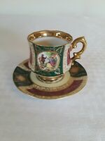royal Vienna Style Demitasse Cup with Saucer, Green & Maroon & Gold trim 33/251