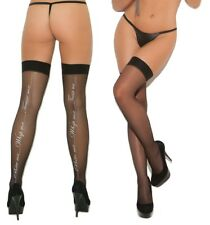Elegant Moments Black Thigh High Stockings W/Bite Me, Whip Me, Tease Me Backseam