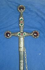 """vintage sword made in Spain wall decoration   patentado ryc w/scabbard 32"""""""