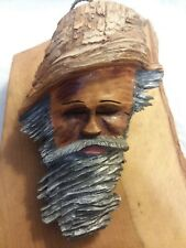 Vintage wooden hand carved face.by Gene Olson.wall plaque/art/old man.pineknot