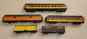 Wooden HO Scale Reefer, Stock Car and Passenger Cars. Lot of 5.