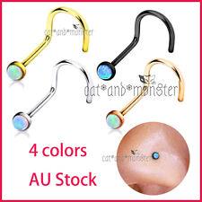 "Titanium 20g Opal Nose Stud Twist Bend Bone ""L"" Bar Pin Steel Body Piercing Ring"