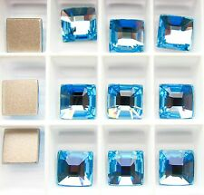 Swarovski 2483 Aquamarine 10mm Crystal Classic Square Foiled - 3 Pieces