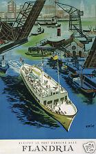 AFFICHE ANCIENNE ERIC VISITEZ LE PORT D'ANVERS AVEC FLANDRIA  1955