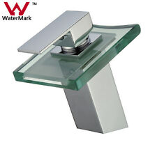 New Glass Bathroom Faucet Waterfall Mixer One Hole/Handle Basin Sink Chrome Tap