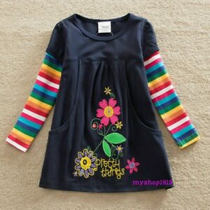 Girls Dress Tunic Cotton Top Long Sleeve School Dress Age 2 3 4 5 6 7 8 Yrs