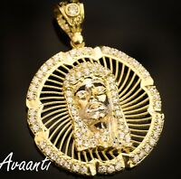 Real 10k Gold Jesus Face Head Medallion Pendant Charm Piece with Cubic Zirconia