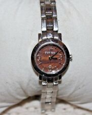 Fossil Womans Watch. Woodgrain Face/ Stainless Steel Band.ES2092 F80/A